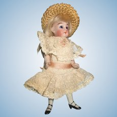 "Antique German All Bisque 5"" Doll"