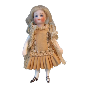 "Antique French 4 1/2"" All Bisque Mignonette Doll"
