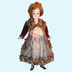 """Antique  6 1/2"""" All Bisque Peg Jointed Doll"""