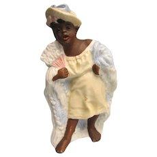 "Antique 4"" Black Americana Lady with Shaw Figurine"