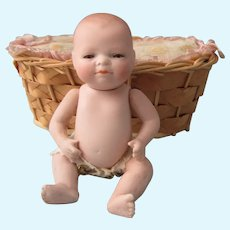"""Antique 4 1/2"""" All Bisque Bye Lo Baby Doll"""