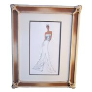 A Vintage Original Watercolor Fashion Design of a Bridal Gown