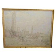 A 20th Century American Drawing of Classical Ruins by Eleanor Parke Custis (1897-1983)