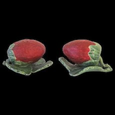 A Pair of Vintage Strawberry Form Majolica Toothpick Holders