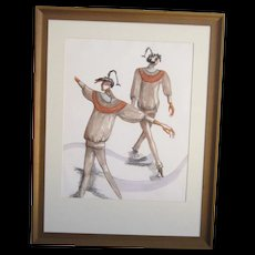 A Vintage Original Fashion Design Watercolor of a Sweater and Tights Ensemble