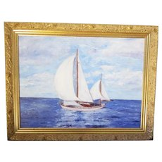 """An American Sailing Painting Signed and Dated """"P. LoBello, '60"""""""