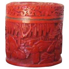 A Carved Cinnabar Trinket Box