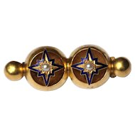 Antique 15kt pearl and enamel bar brooch