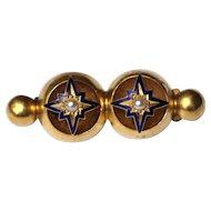 Antique 15kt pearl and enamel bar brooch