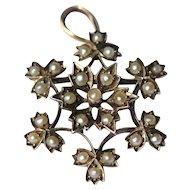 Edwardian 9kt half-pearl brooch/pendant