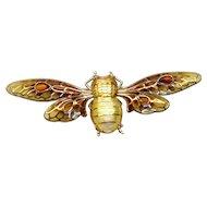 Plique-a-jour enamel diamond bee brooch