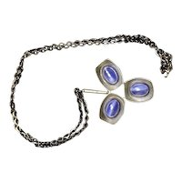 Jorgen Jensen three leaf pewter pendant with blue stones
