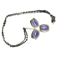 Jorgen Jensen three leaf pewter pendant with blue stones