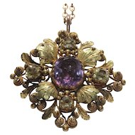 Georgian 20kt pendant with amethysts and citrines