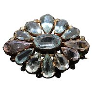 Vintage aquamarine and kunzite brooch