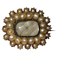 Georgian seed pearl set mourning brooch