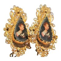 Vintage filigree 18kt gold drop earrings