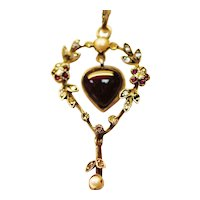 Antique garnet, diamond and seed pearl pendant