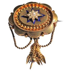Victorian 15kt gold, seed pearl and enamel brooch/pendant