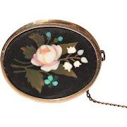Victorian pietra dura 9kt brooch