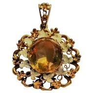 Antique citrine pendant set in 18kt gold