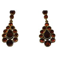 Vintage garnet 9kt gold drop earrings