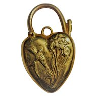 9kt Gold heart padlock