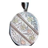 Victorian silver oval locket