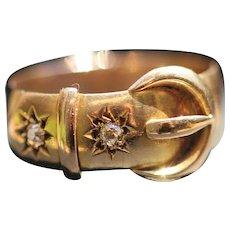 Antique 18kt diamond set buckle ring