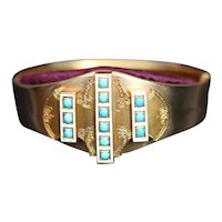 Victorian 18kt hinged cuff bangle, boxed