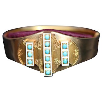 Victorian 18kt hinged cuff bracelet, boxed