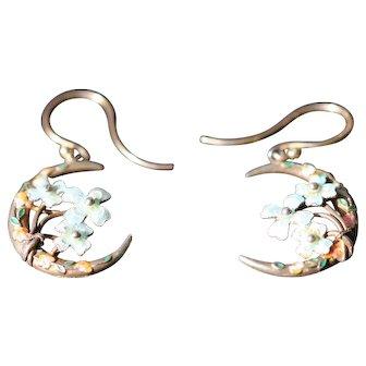 Antique enamel and sterling silver earrings