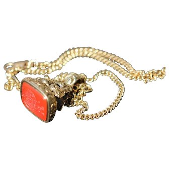 Antique gold carnelian seal and gold chain