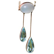Edwardian aquamarine and moonstone 14kt négligée pendant necklace