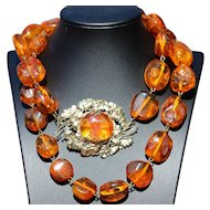 Natural Baltic amber necklace, with magnificent 9kt gold clasp.