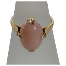 Vintage angel skin coral ring, 14kt gold