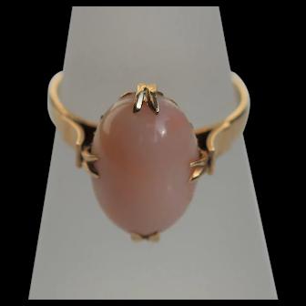 Vintage angel skin coral ring, 14kt gold