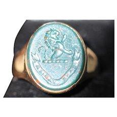 Antique Bloodstone 15kt signet ring