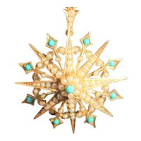 Antique 15kt star pendant and brooch with turquoise and seed pearls