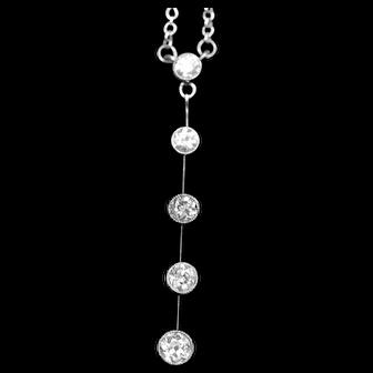 Antique diamond pendant necklet