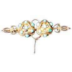 Antique 15kt gold and turquoise bar brooch