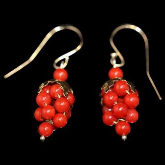 Vintage coral grape drop earrings
