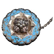 Victorian enamel, pearl, and diamond brooch