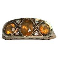 Vintage 9kt orange citrine and rose cut diamond ring