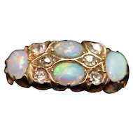 Antique opal and diamond 18k ring, hallmarked