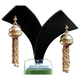 Vintage gold tassel earrings