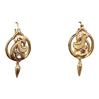 French antique garnet set earrings,18kt gold