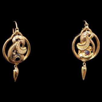French antique garnet set earrings,18kt gold
