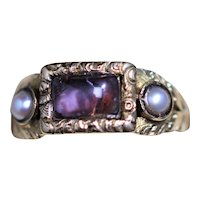 Georgian 15kt paste set ring with half pearls