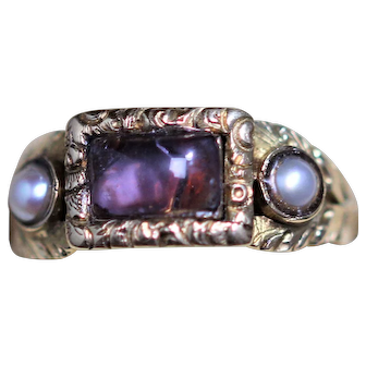 Georgian 15kt paste set ring with half pearls